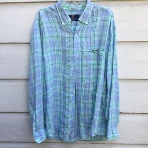Men's Vineyard Vines Tucker plaid linen shirt XXL